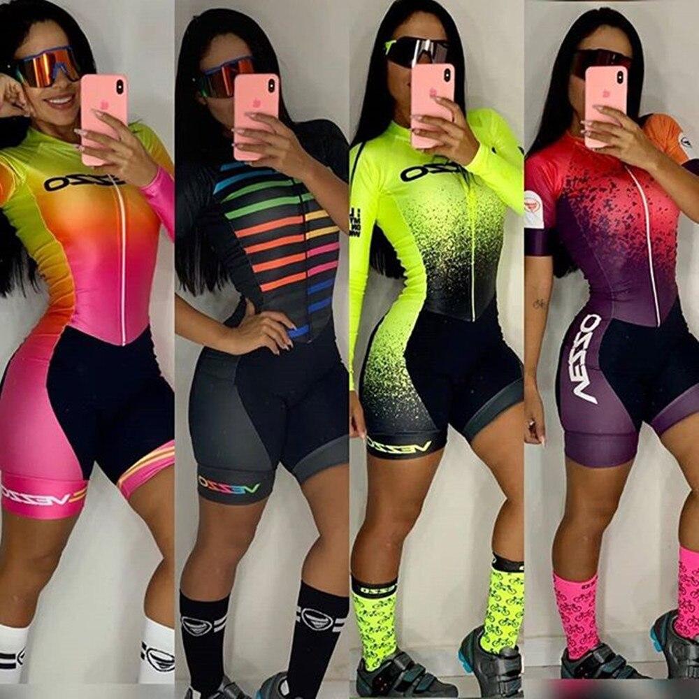 Vezzosports  Uniformes de Ciclismo Cycling Skinsuit Women's Pro Team Bicycle Racing Speedsuit Macaquinho Ciclismo Feminino Suits